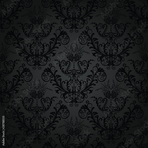 Luxury charcoal floral wallpaper Poster Mural XXL