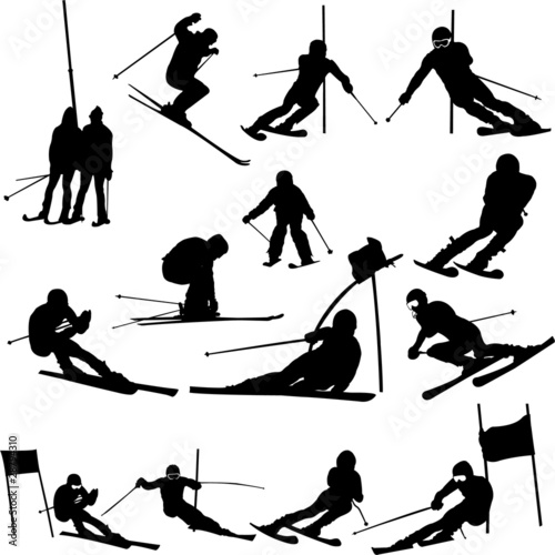 Fotomural  skiing collection - vector