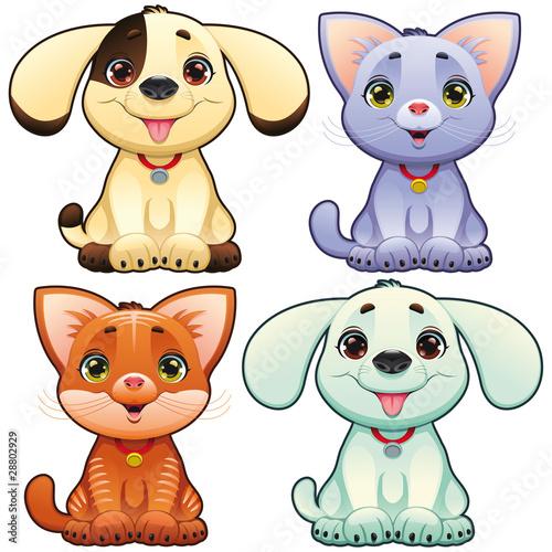 sliczne-psy-i-koty-wektor-zwierzat-na-bialym-tle-znakow