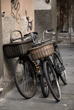 Italian old-style bicycles in Lucca, Tuscany