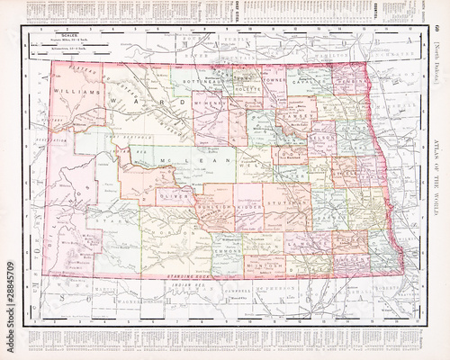 Antique Vintage Color Map of North Dakota, ND, United States ...