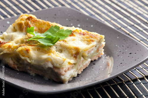 spinach lasagne with salmon