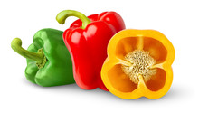 Isolated Peppers. Three Bell P...