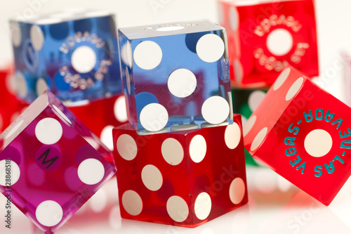 Colorful Las Vegas Gambling Dice on a White Background плакат