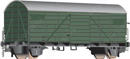Fotografie, Obraz  A 3D rendering of a green railroad boxcar