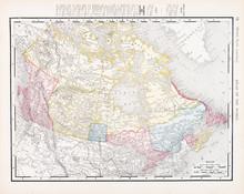 Antique Vintage Color Map Of Canada, North America