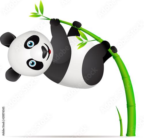 Fotografie, Obraz  Panda and bamboo tree