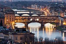 Panoramic View Of Ponte Vecchio, Florence. Tuscany.