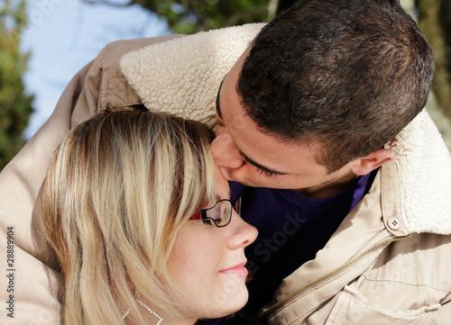Kuss auf die Stirn Stock-Foto   Adobe Stock