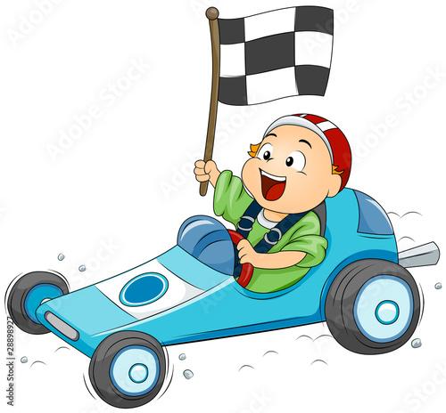 Foto op Canvas Cars Go Kart Kid