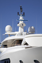 Mast Of A Big Luxury Yacht With A Radar And Antenna