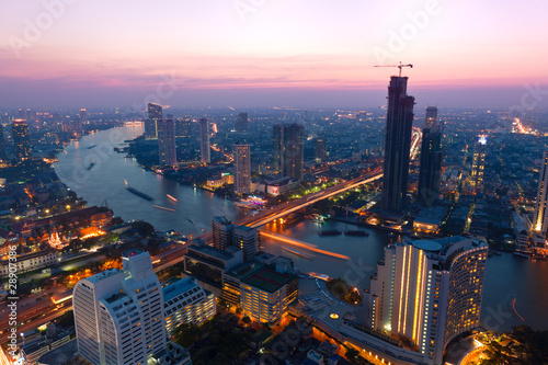Poster Bangkok Bangkok coucher de soleil nuit