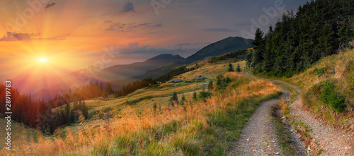 obraz PCV Summer landscape in the mountains. Sunset