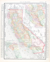Antique Vintage Color Map Of California, United States, USA