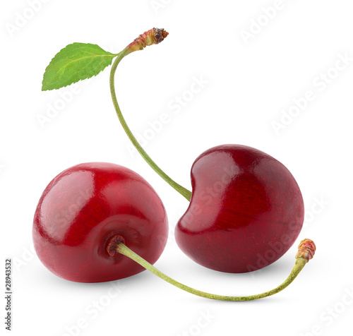 Isolated cherries Fototapet