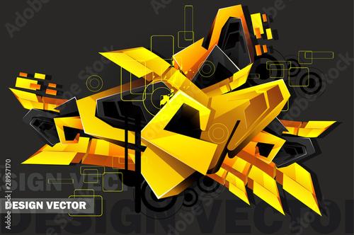 3d art graffiti vector
