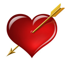 Red Heart With An Arrow Of The Cupid
