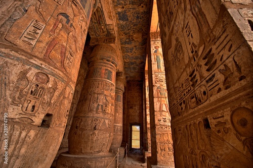 Photo Stands Egypt Heiroglyphs at Medinat Habu. Luxor, Egypt