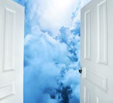 White Doors Opening To Heavenl...