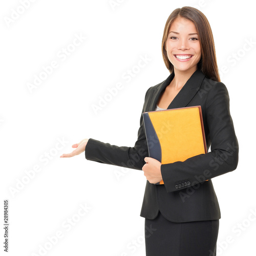 Photo  Business woman showing white copy space