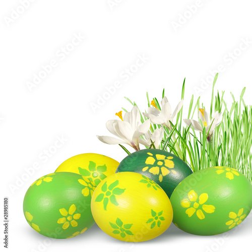 Photo  Easter decoration with Easter eggs.