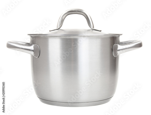 Carta da parati stainless pot isolated on white background