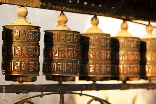 Fotografie, Obraz  tibetan prayer wheels in nepal