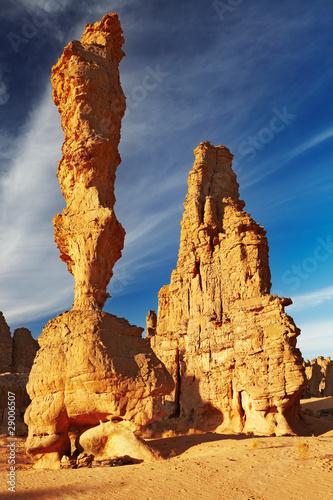 Poster Algérie Sandstone cliffs in Sahara Desert, Algeria