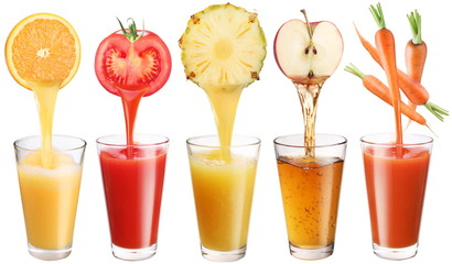 Fototapeta Conceptual image - fresh juice pours from fruits and vegetables