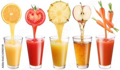 Foto op Plexiglas Sap Conceptual image - fresh juice pours from fruits and vegetables