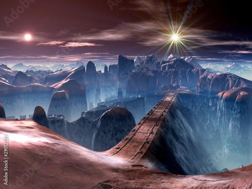 Fotografia Futuristic Bridge over Ravine on Alien Planet