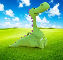 Dino Baby Dragon Sitting On Th...