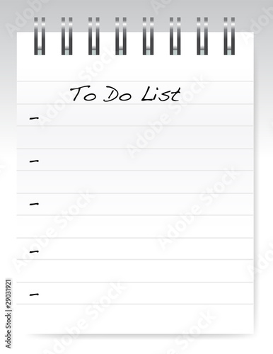 Photo  a pad of paper isolated on white, to do list