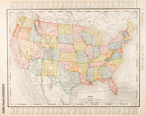 Antique Vintage Color Map United States of America, USA Wallpaper Mural