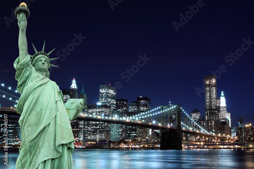 Brooklyn Bridge And The Statue Of Liberty New York City Buy This Stock Photo And Explore Similar Images At Adobe Stock Adobe Stock