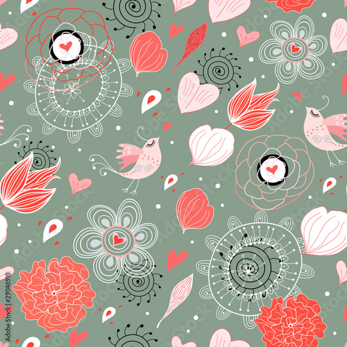 Poster Oiseaux, Abeilles Seamless floral pattern with birds in love