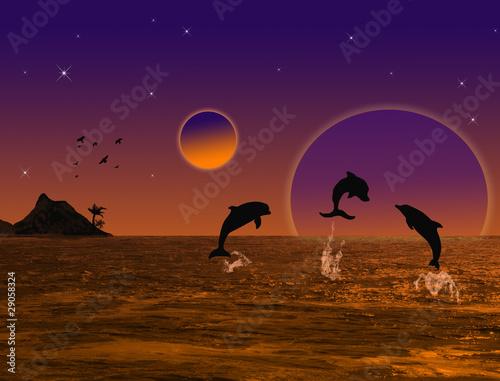 Staande foto Dolfijnen Beautiful landscape on sunset