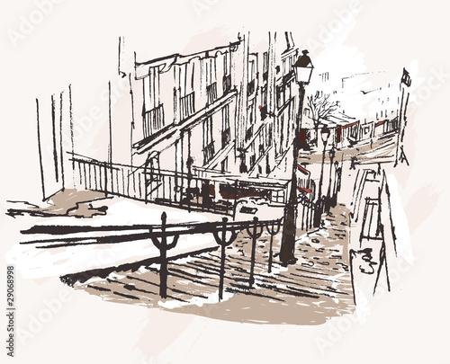 wektorowa-ilustracja-widok-na-dzielnice-montmartre-w-paryzu