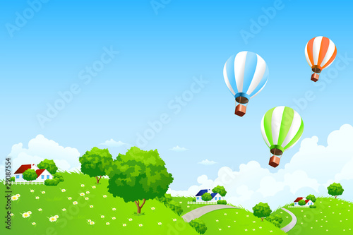 Photo Stands Magic world Green Landscape with Balloons