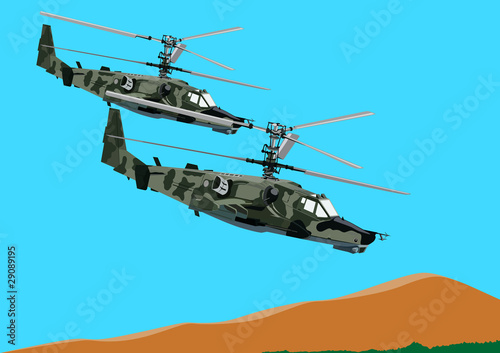 Poster Militaire Combat helicopters link
