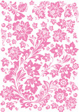 floral rosy decoration on white