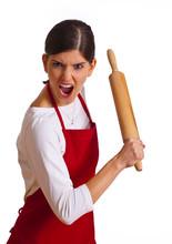 Wütende Frau Mit Nudelholz
