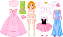 Girl With Different Princess Dresses