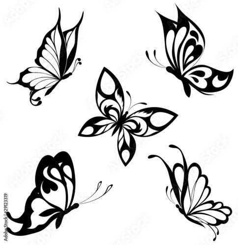 Fotografie, Obraz  Set  black white butterflies of a tattoo