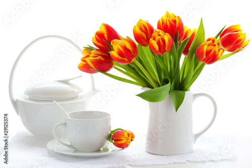 Wall Murals Tulip red tulips and tea