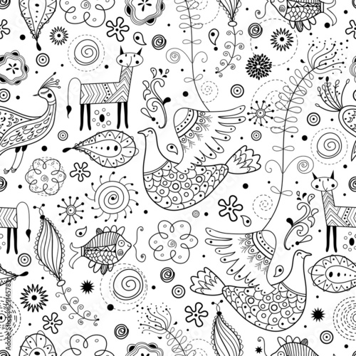 Poster Kunstmatig Seamless graphic pattern of fabulous animals