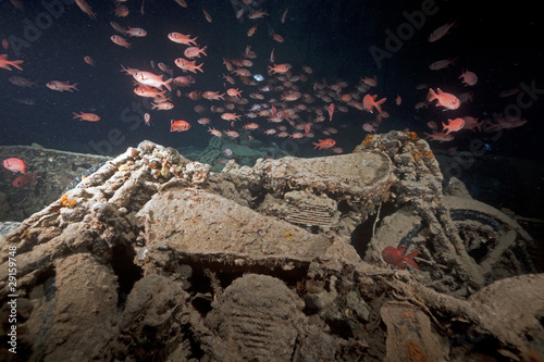 Photo Stands Shipwreck Norton 16H motorbikes cargo of the SS Thistlegorm.