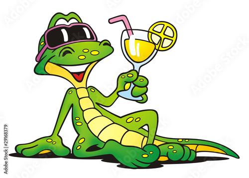 Fototapeta premium Lizard with Cocktail