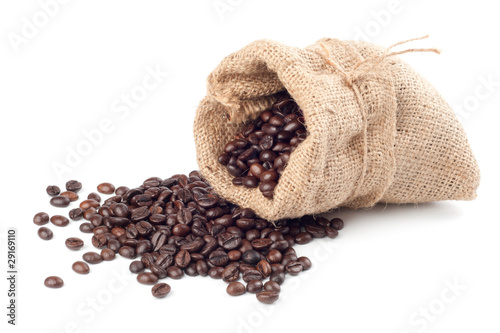Deurstickers koffiebar Coffee beans in canvas sack on white background