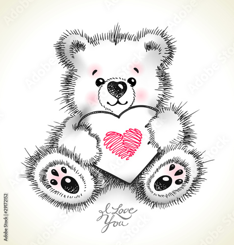 Hand drawn furry teddy bear with a heart in paws. #29172152